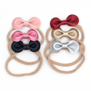 Small PU bow stretch hair tie or alice band - pair