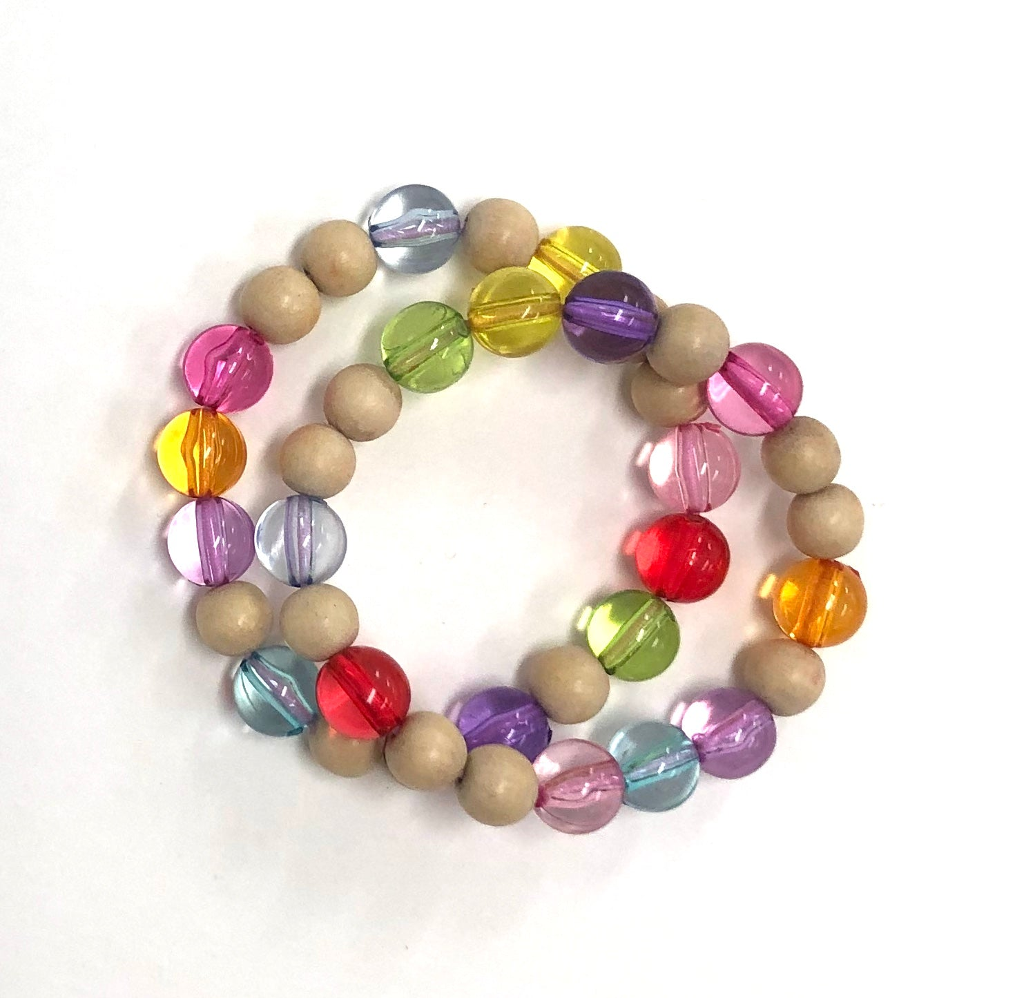 Rainbow and natural beads bracelet