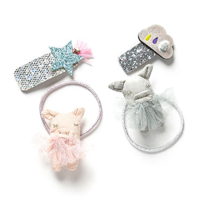 This Little Piggy hair tie and hair clip set
