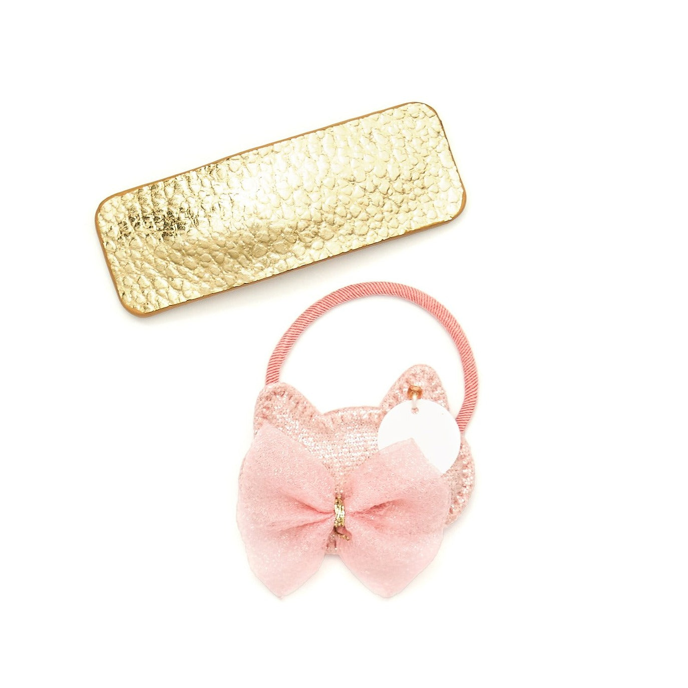 Catty Bow hair tie with very gold hair clip set