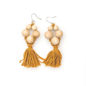 Five blonde bead with tassel drop earring