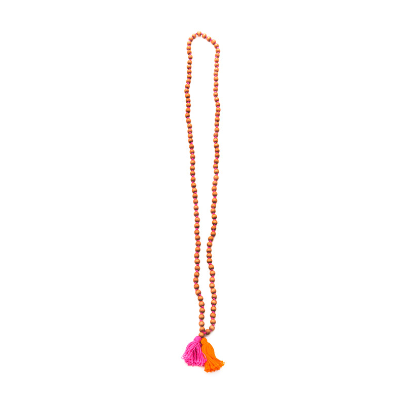 Tan Beads with Tassels necklace