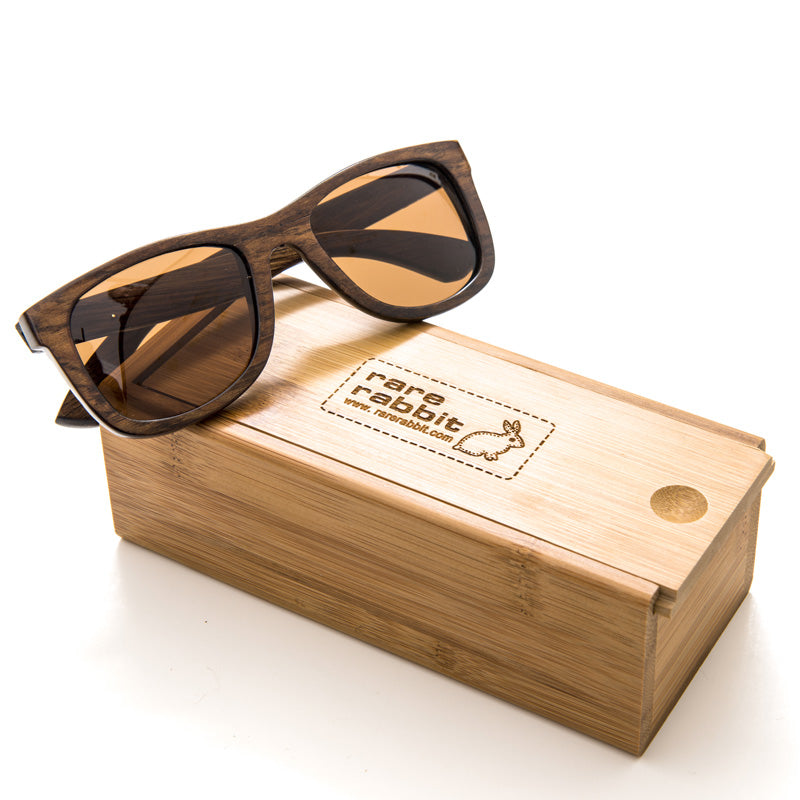 Classic Bond wood sunglasses, polarised (dark natural)