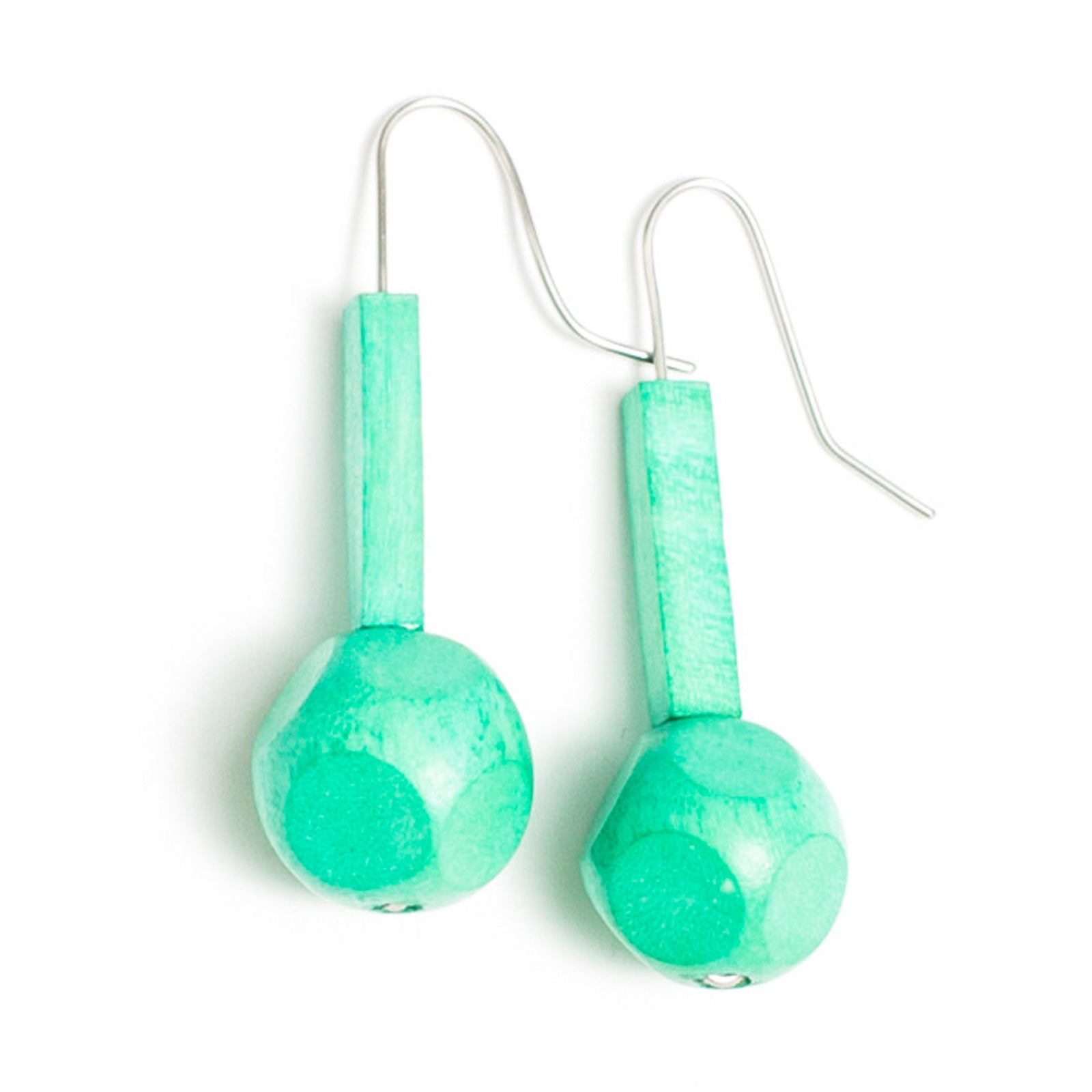 Faceted Ball and Tube earring