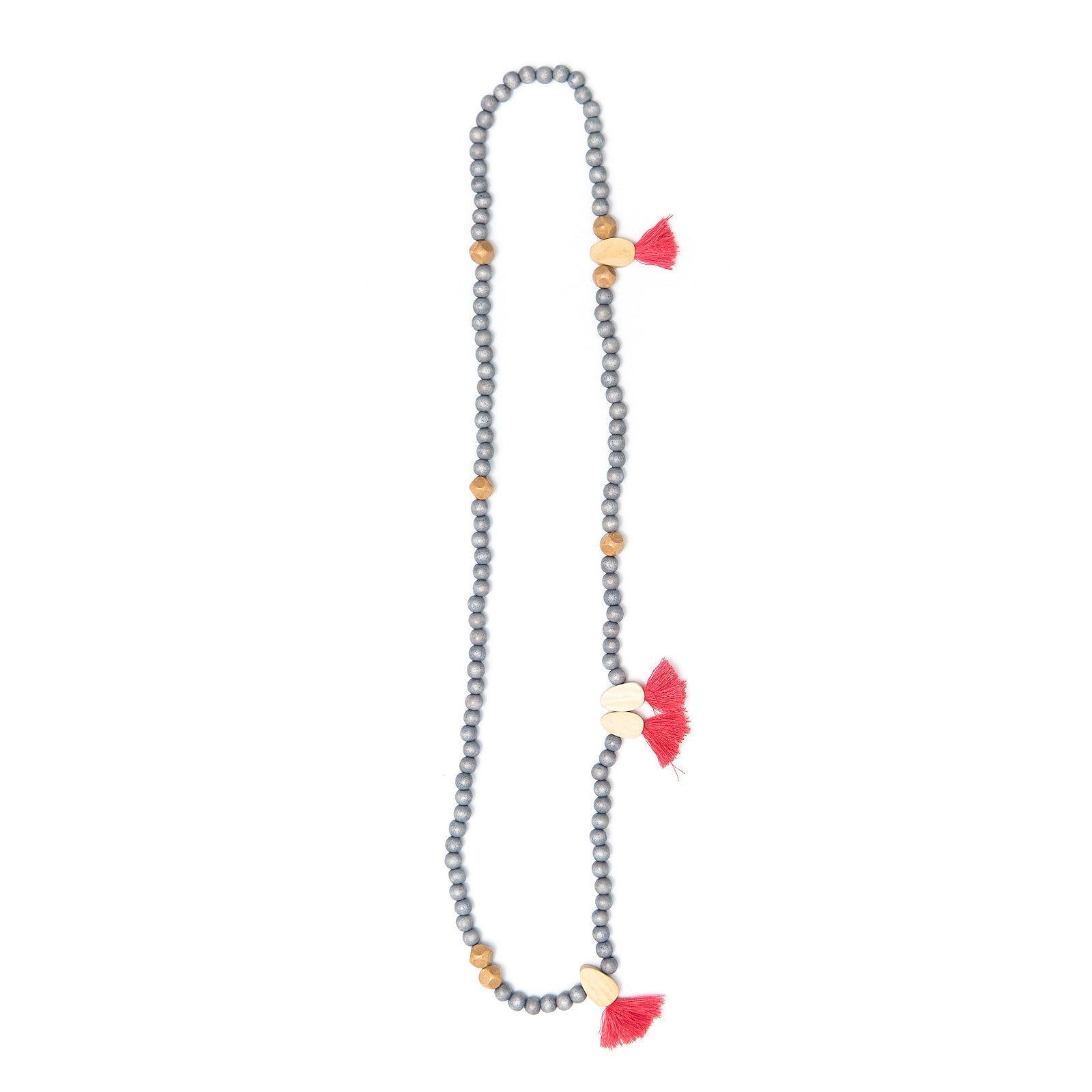 Tiny Egg Cluster bead and tassel necklace