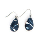 Marbled 1/2 wood teardrop earring
