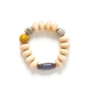 Mentos bracelet with ceramic shibori bead