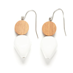 Wood and Pebble drop earring