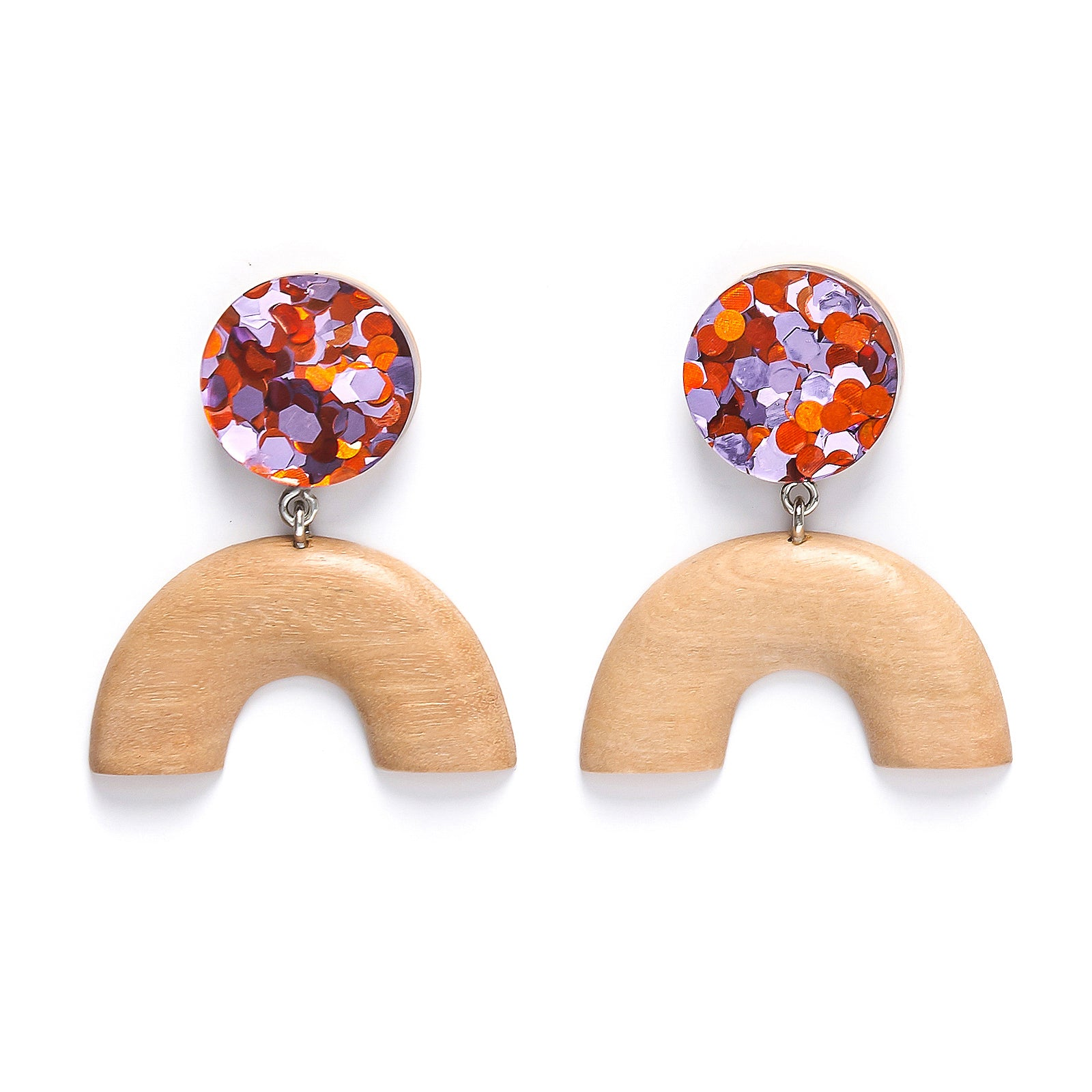 Dot U Foil drop earring