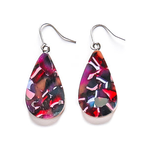 Teardrop with Resin and Wood drop earring