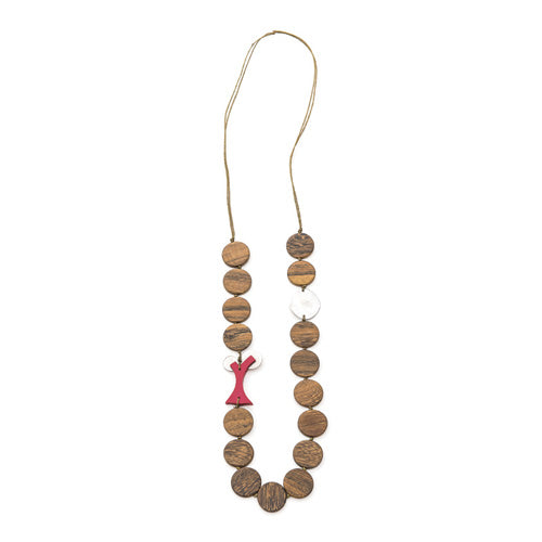 Flat natural discs with red tree necklace