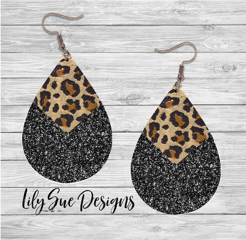 Leopard Sparkle Black Earring
