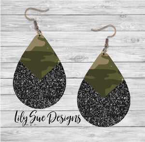 Camo Black Sparkle Earring