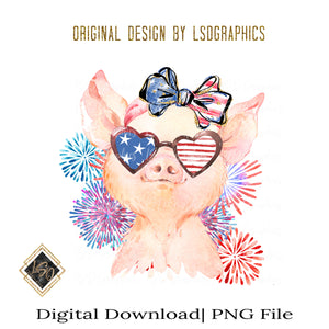 4th of July Piggy PNG File