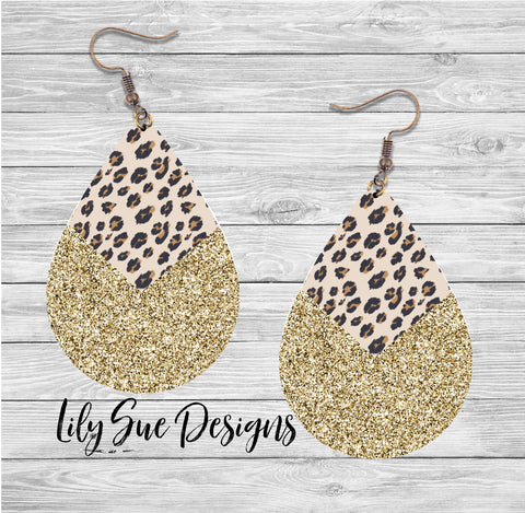 Light Leopard gold sparkle Earring