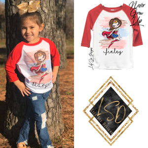 Superheroes Girls Raglan
