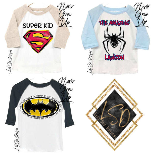 Reg SuperHero Designs Raglan