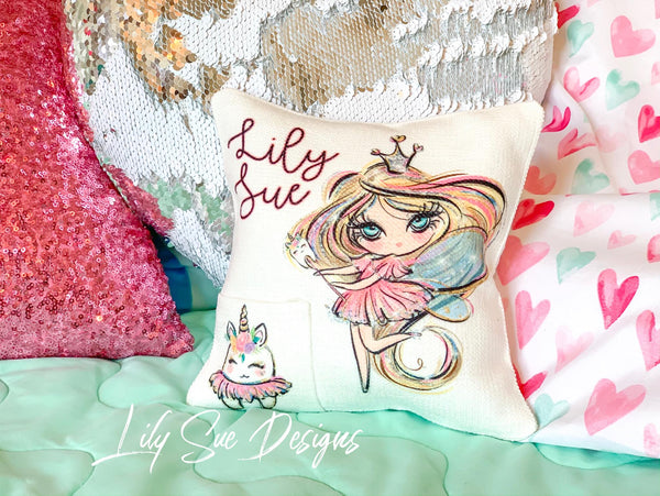 Girl Tooth Fairy Pillow