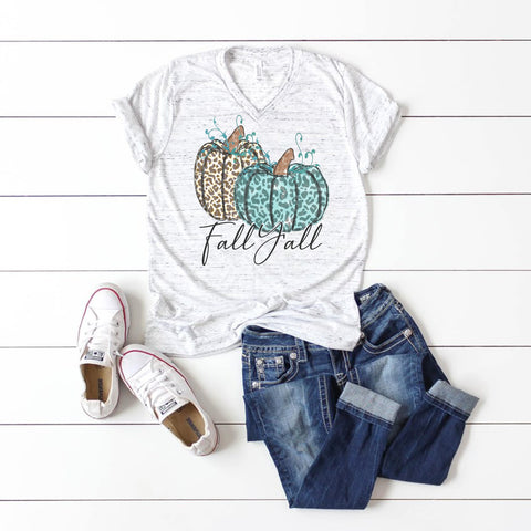 Fall shirt with leopard and teal pumpkins that says Fall Y'all