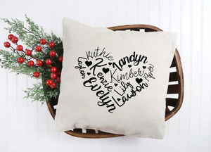 Name Heart Throw Pillow Cover