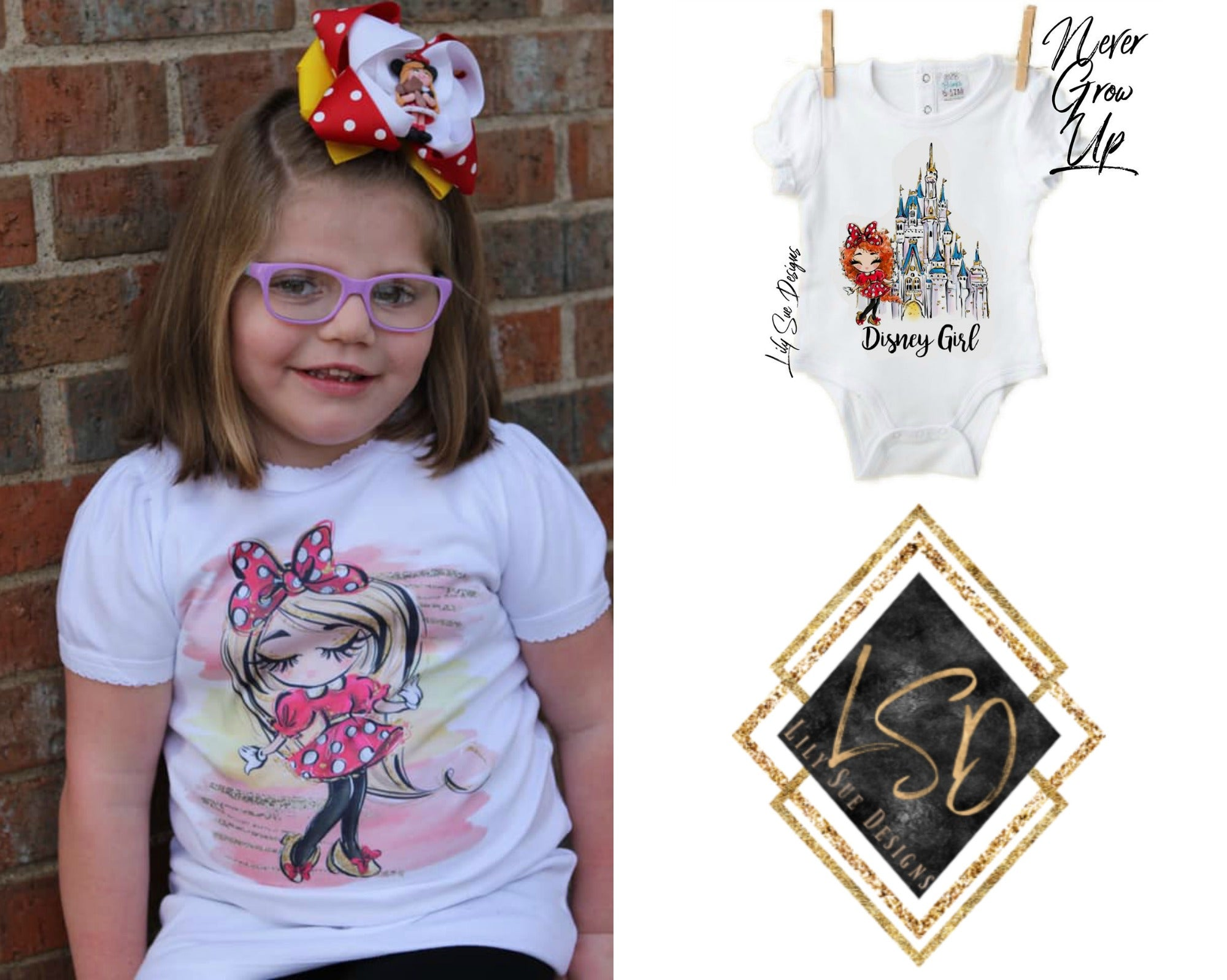 Minnie Girls Short Sleeve Tees