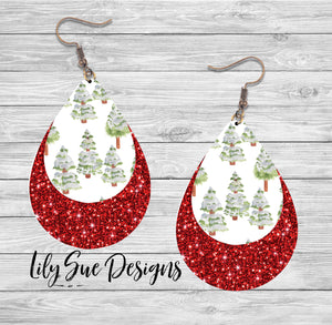 Red sparkle with Trees Earring