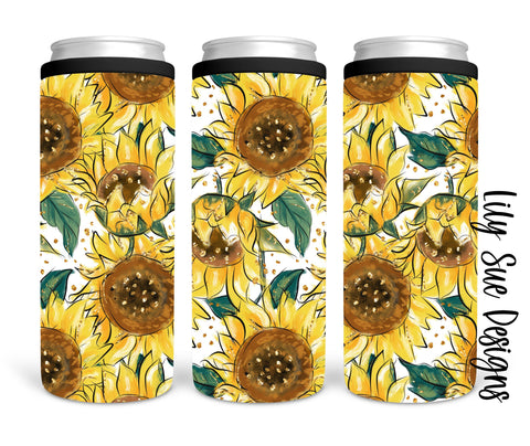 Sunflower Skinny Can Cooler