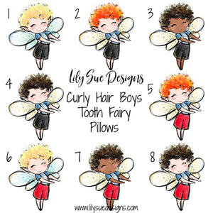 Curly hair Boy Tooth Fairy Pillow
