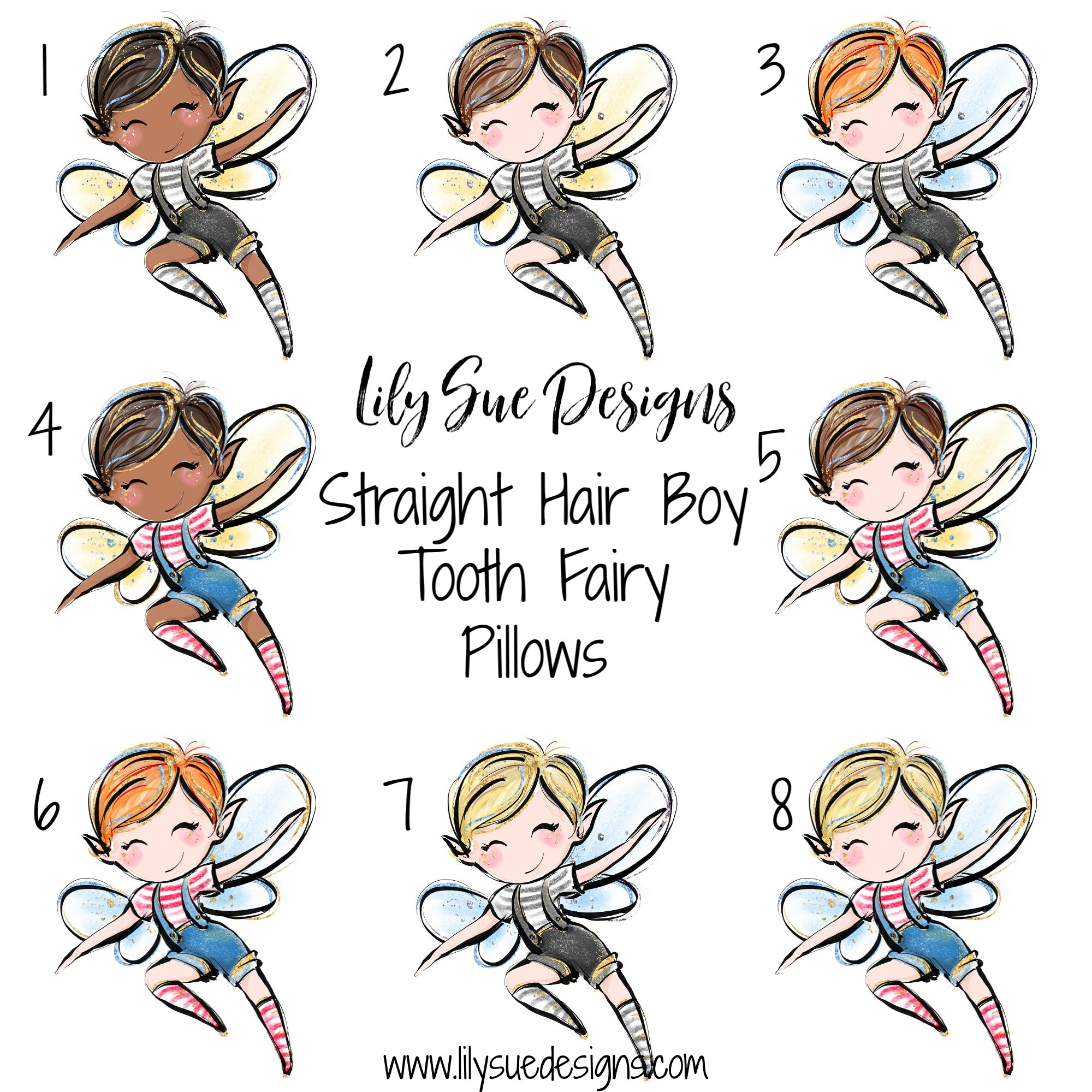 Straight hair Boy Tooth Fairy Pillow