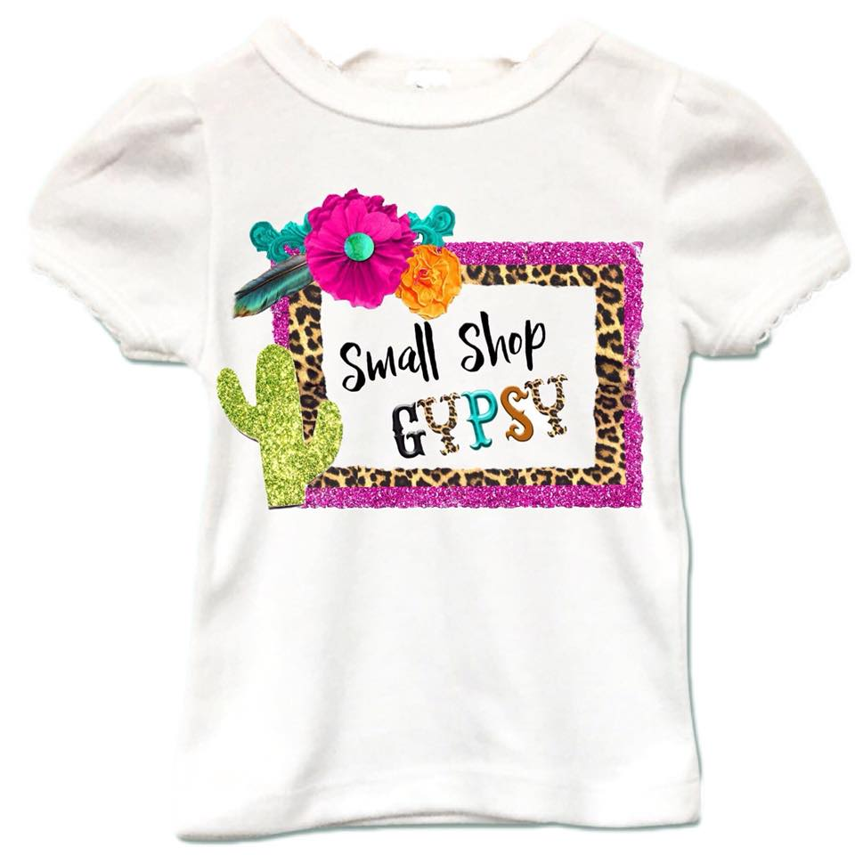 Girly White Tee (Small Shop Gypsy)
