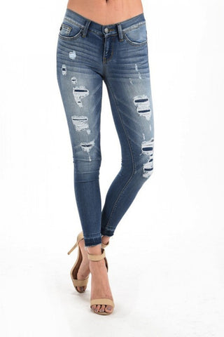 Distress jeans with Patch