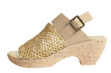 Super Comfortable Natural 2 Way Jute Mesh, Cork Heeled Sandal