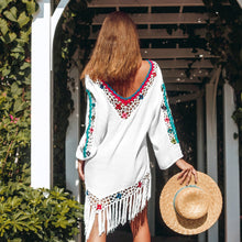 Fun, Fun Summer White Bikini Cover Up with Rainbow Trim