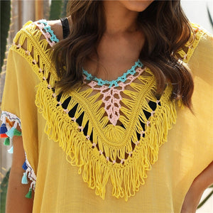 Stylized and Chic Fringe Tunic Style Cover Up