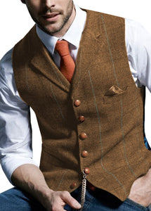 Casual Gentleman's Waistcoat in Brown Plaid/Tweed Styling