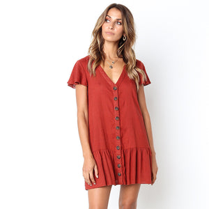 Short Sleeve Ruffle Buttoned Dress