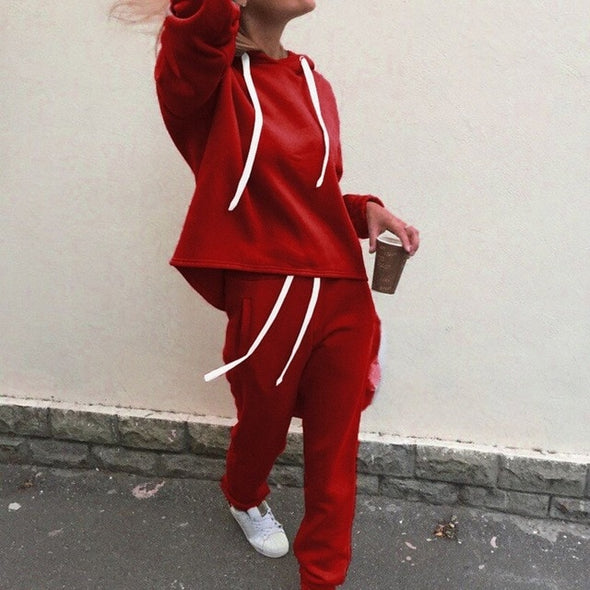 Comfort Chic Autumn Long Sleeve Tracksuit 2 Pieces