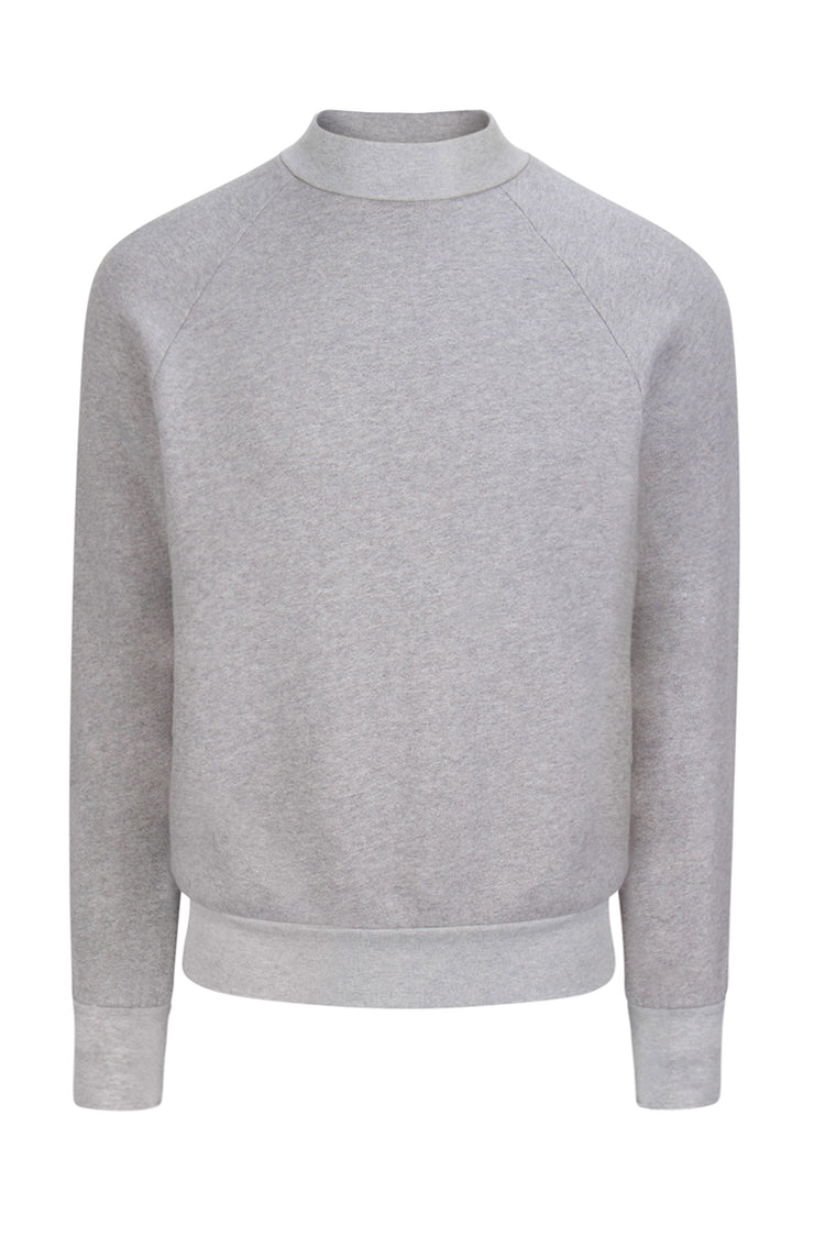 Mock Neck Raglan Heather Grey image-1
