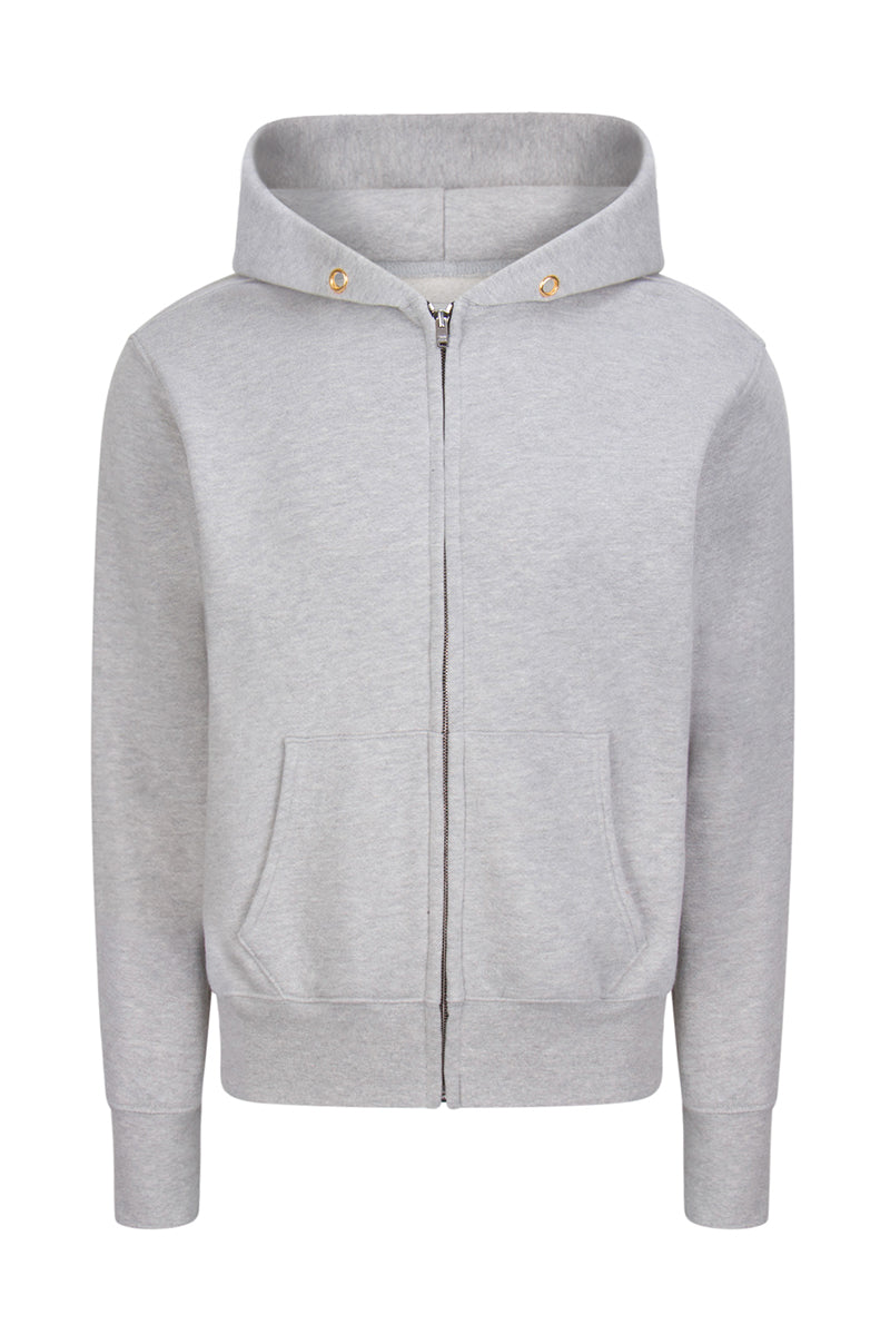 Crop Zip Hoodie Heather Grey image-1