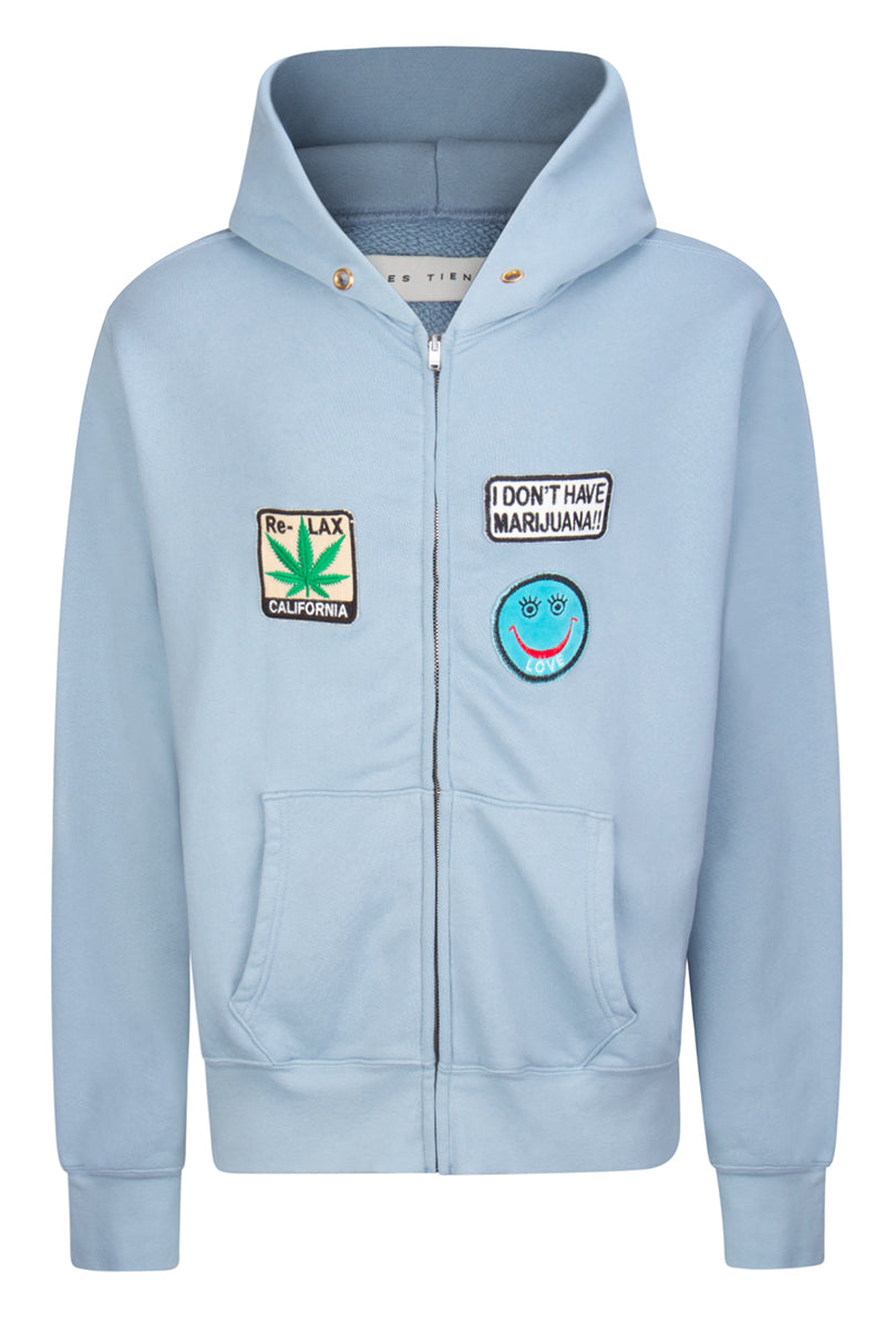 Crop Zip Hoodie | Stay Stoned Dusty Blue image-1