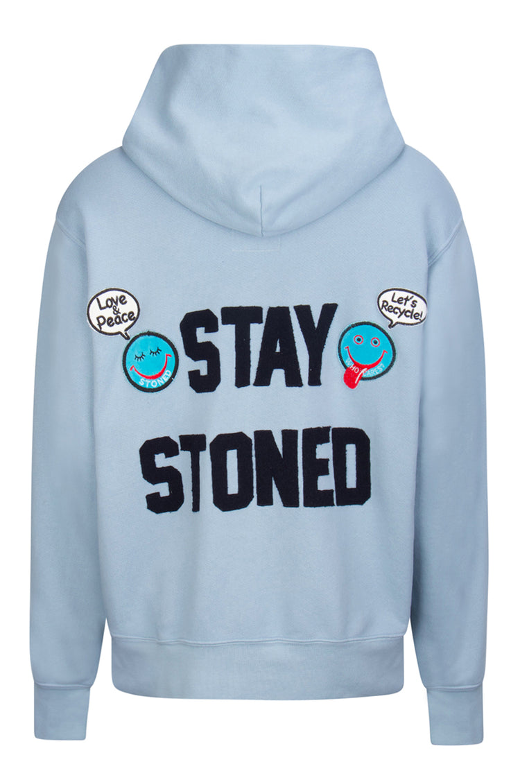 Crop Zip Hoodie | Stay Stoned Dusty Blue image-2