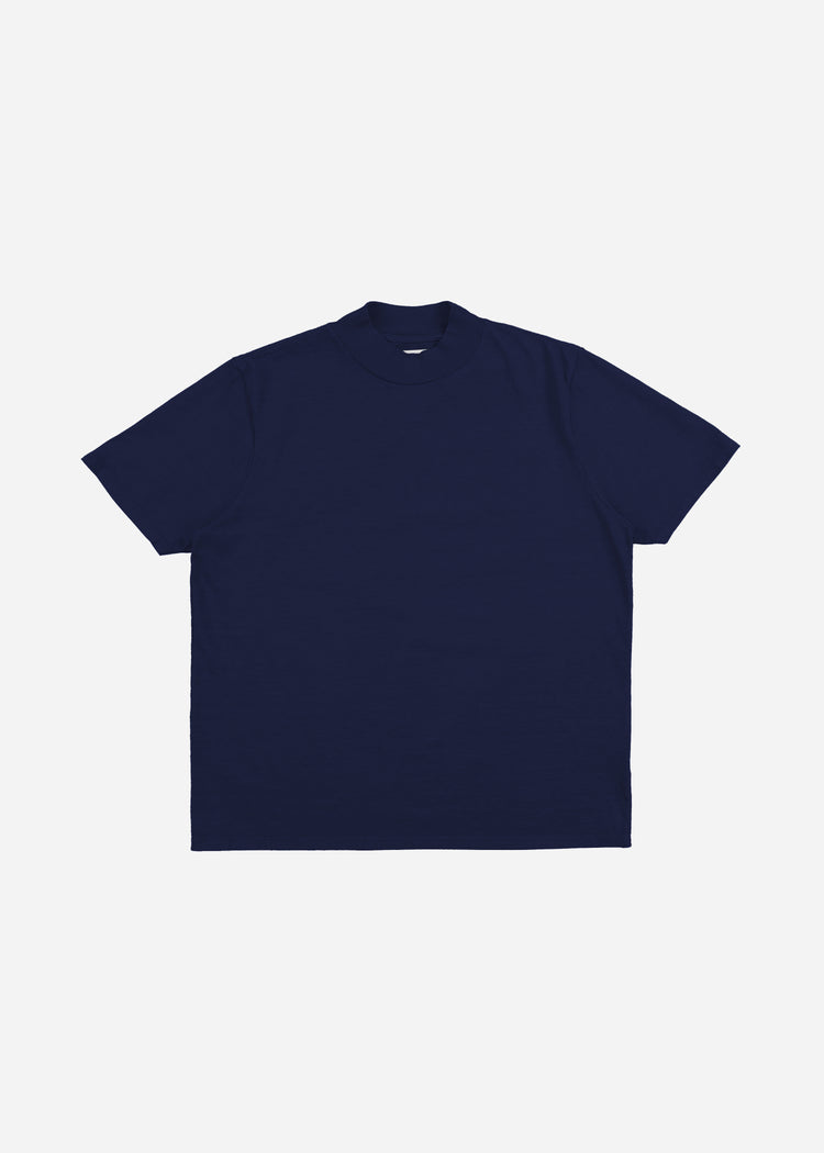 Mock Neck Tee Navy image-1