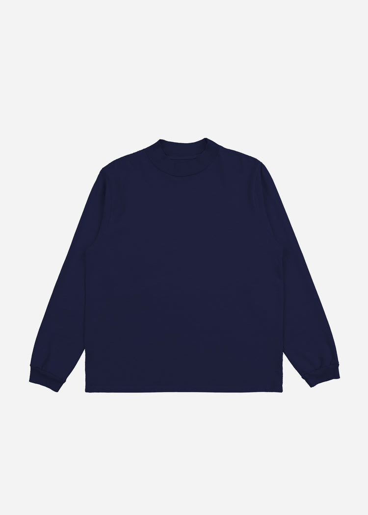 Mock Neck Long Sleeve Navy image-5