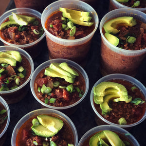 Chipotle Beef chili with cilantro-green onion cauliflower rice