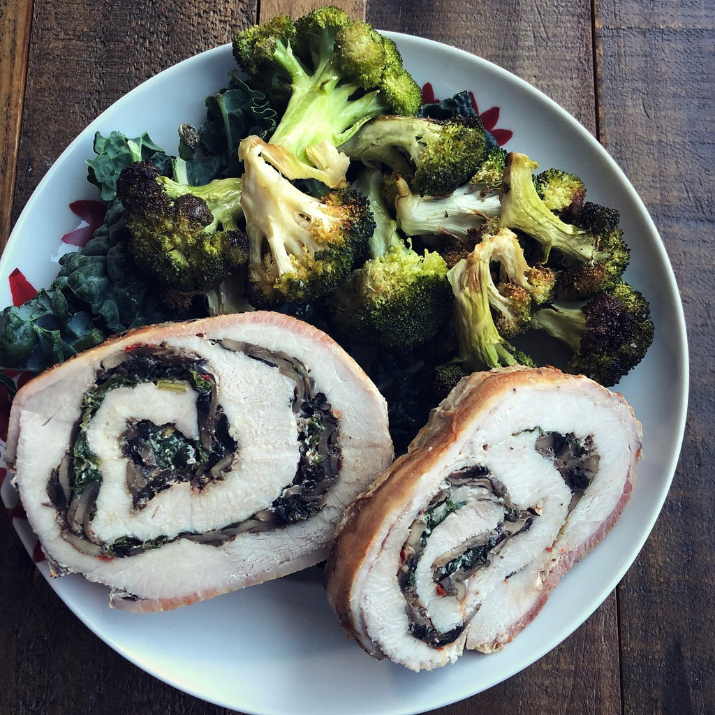 Bacon pork loin stuffed with spinach and mushrooms