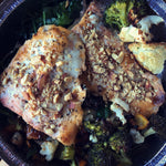 Almond-Crusted Salmon with Roasted Veggies and Kale