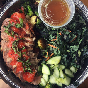 Grilled steak with Chipotle Tomato Sauce and Kale