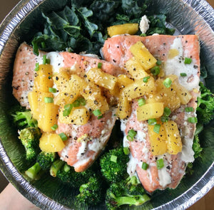 Pineapple Salmon with Roasted Broccoli and Kale Salad