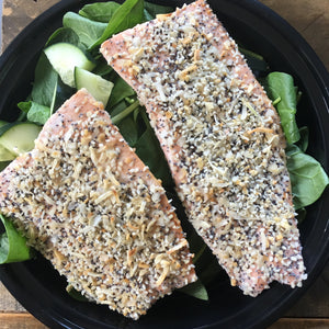 Everything Crusted Salmon with Spinach Salad and Cucumbers