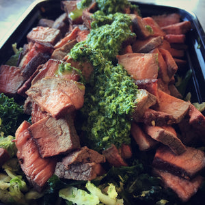 Chimichurri Steak Bowls with Brussels and Kale Slaw